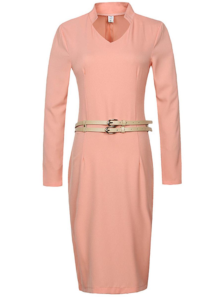 Office V-Neck Belt Plain Slit Bodycon Dress