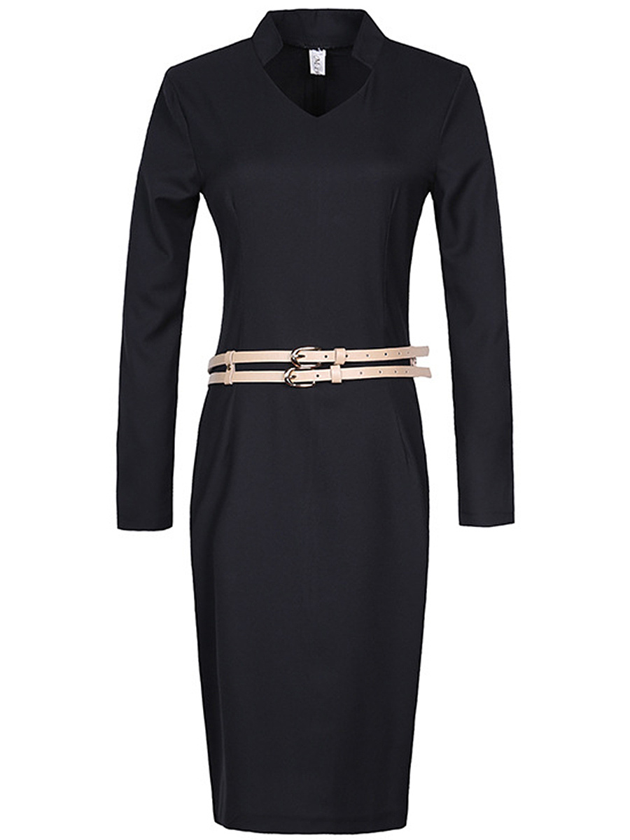 Office V-Neck Belt Plain Slit Bodycon Dress