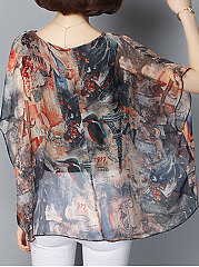 Summer  Chiffon  Women  Round Neck  Asymmetric Hem  Floral Printed  Batwing Sleeve Blouses