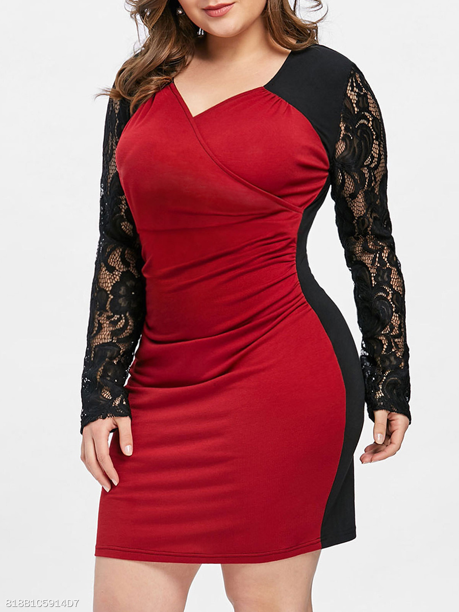 V-Neck  Decorative Lace Patchwork  Color Block Plus Size Bodycon Dress
