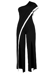 One Shoulder Contrast Trim High Slit Wide-Leg Jumpsuit