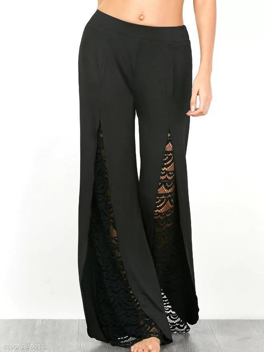 Black Patchwork Hollow Out Wide-Leg Casual Pants