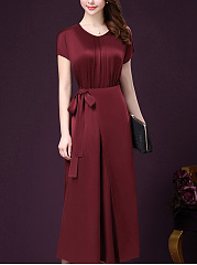 Round Neck Bowknot Plain Maxi Dress