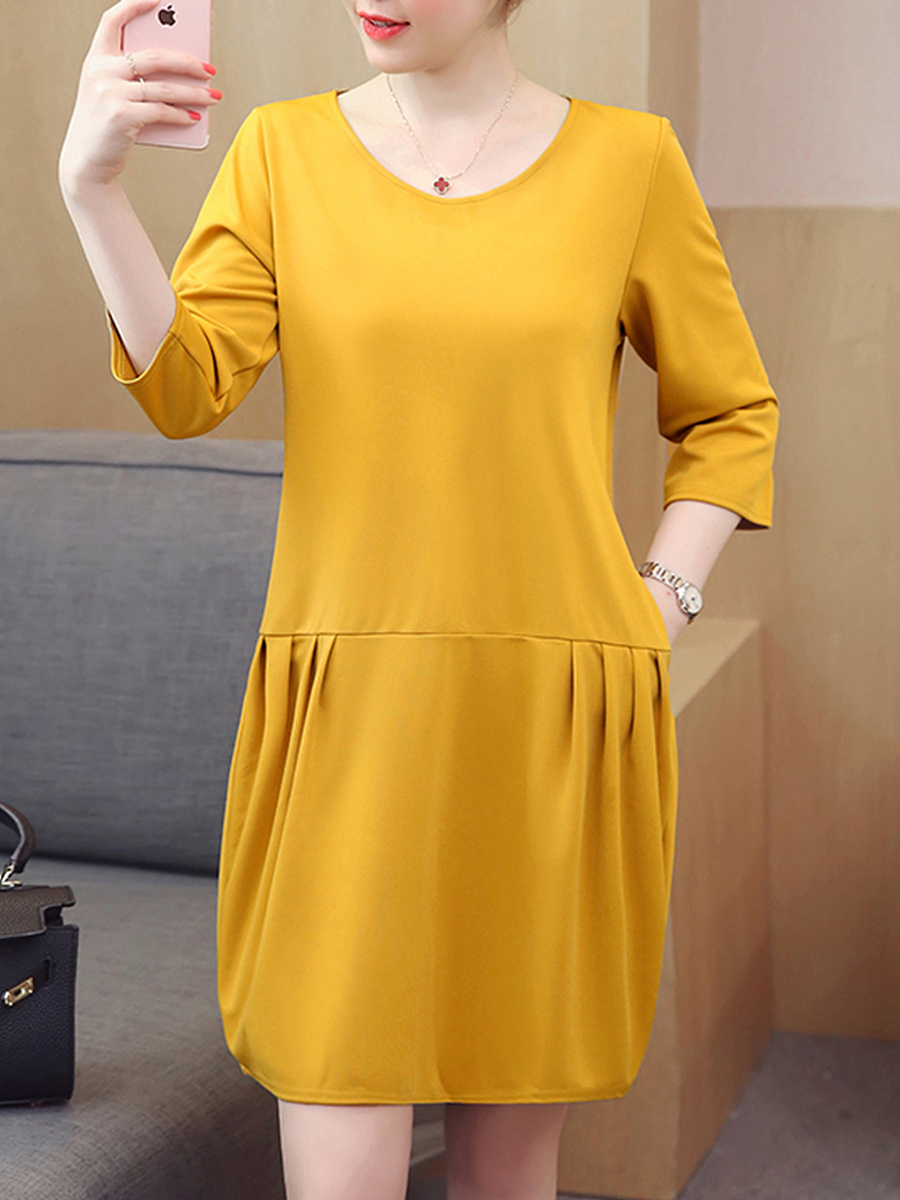Round Neck Pocket Plain Sack Shift Dress