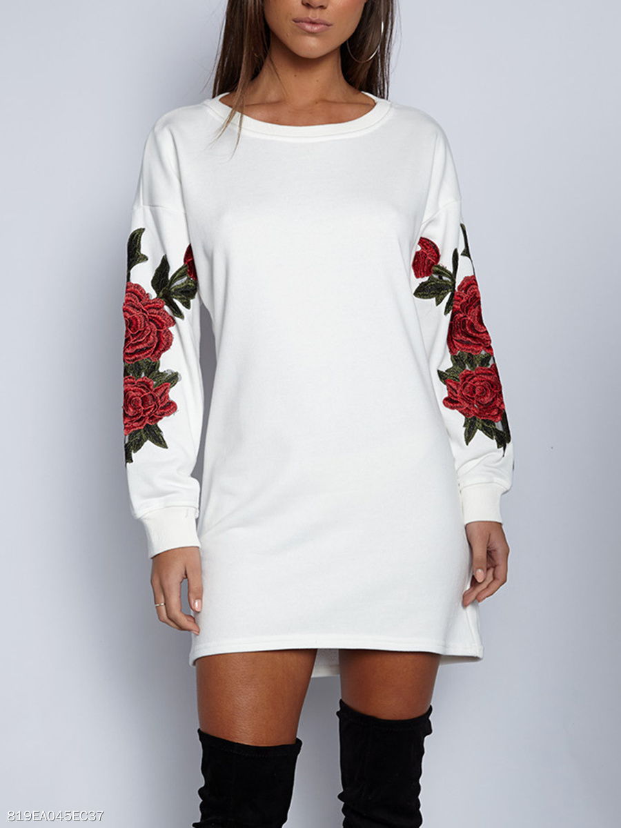 Round Neck  Embroidery  Cotton Shift Dress
