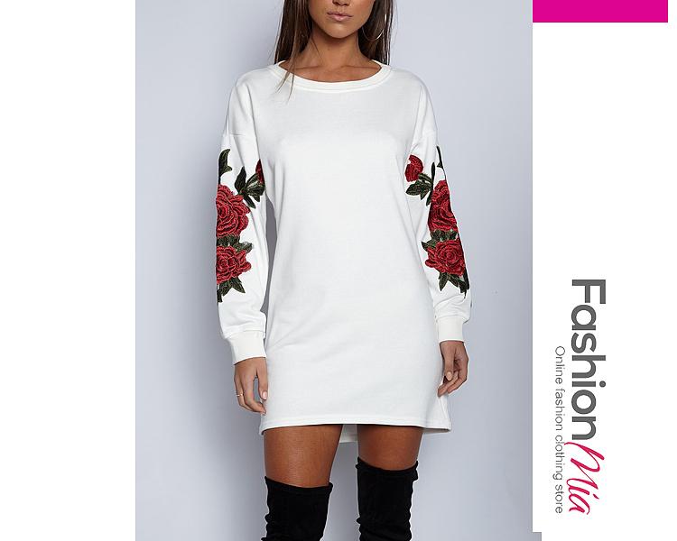 Round Neck  Embroidery  Cotton Shift Dress 819EA045EC37