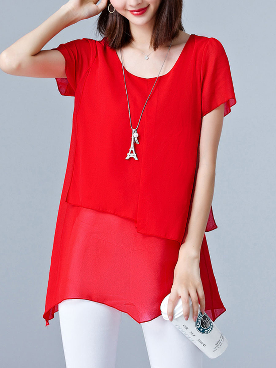 Simple Round Neck  Plain Chiffon Blouse