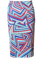Multi-Color-Asymmetric-Stripe-Pencil-Midi-Skirt