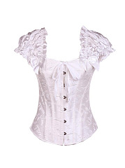 Sexy Jacquard Lace Up Vest  Bandage  Corset Waist Training Satin Overbust Bustier