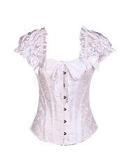 Sexy-Jacquard-Lace-Up-Vest-Bandage-Corset-Waist-Training-Satin-Overbust-Bustier