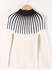 High Neck  Patchwork  Striped  Long Sleeve Sweaters Pullover