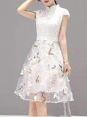 Band Collar Patchwork Hollow Out Butterfly Printed Skater Dress