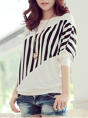 Autumn Spring  Cotton Blend  Women  Round Neck  Patchwork  Vertical Striped  Batwing Sleeve Long Sleeve T-Shirts