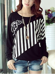 Autumn-Spring-Cotton-Blend-Women-Round-Neck-Patchwork-Vertical-Striped-Batwing-Sleeve-Long-Sleeve-T-Shirts
