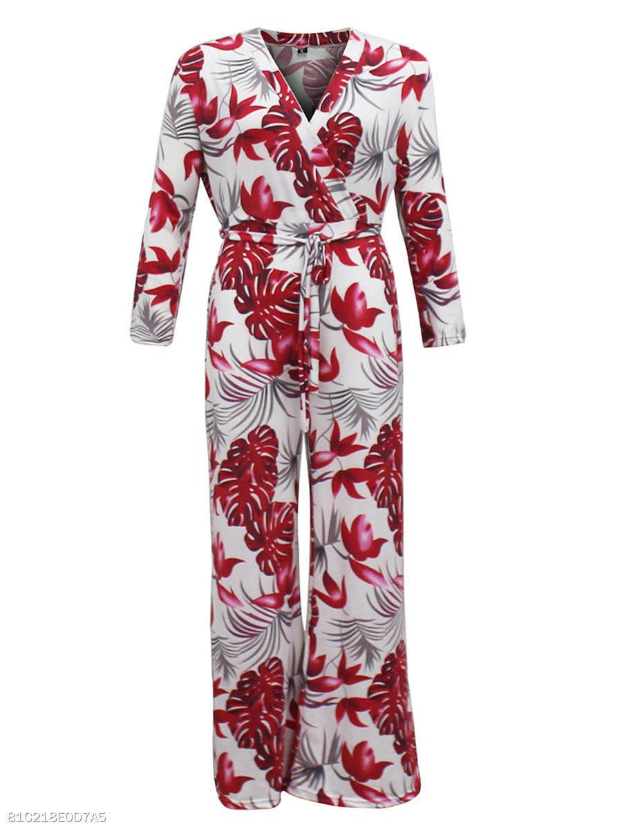 Absorbing Leaf Printed V-Neck Wide-Leg Jumpsuit