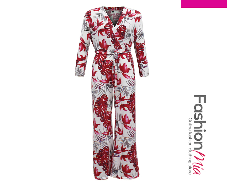 material:polyester, collar&neckline:v-neck, sleeve:long sleeve, pattern_type:printed, bottom_length:long, occasion:vacation, season:autumn*spring, bottom_silhouette(pants&shorts):wide-leg, package_included:jumpsuit/romper*1, length:141,bust:94,waist:78,