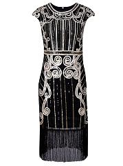 Sparkling-Fringe-Sequin-Round-Neck-Midi-Cocktail-Dress