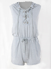 Hooded-Lace-Up-Pocket-Plain-Romper