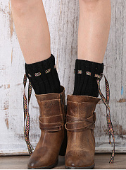 Drawstring Bowknot Knit Leg Warmers