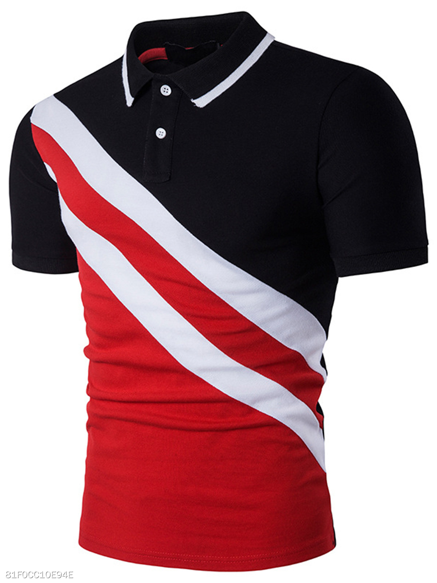 Polo Collar Men Color Block Short Sleeve T-Shirt