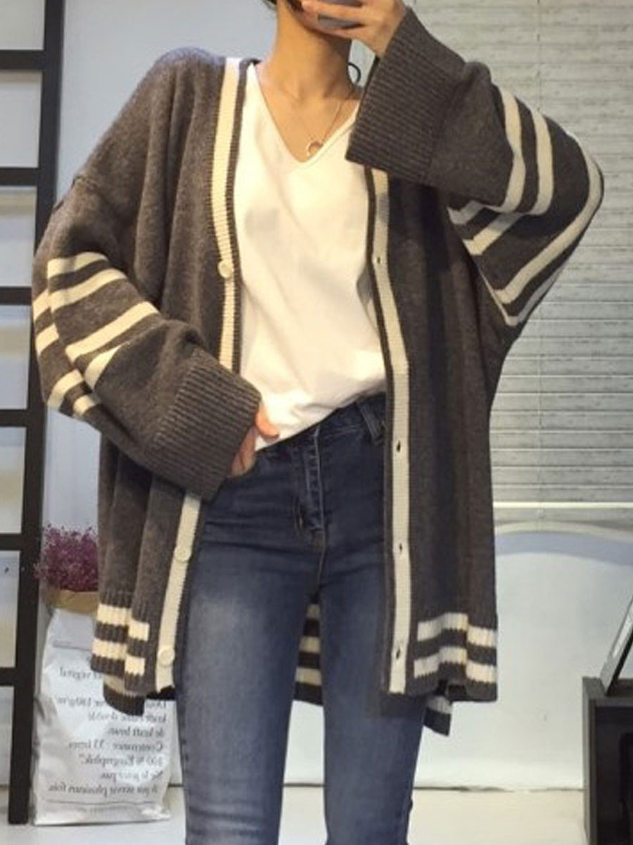 Single Breasted  Decorative Button  Striped Cardigans
