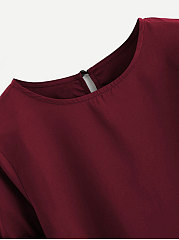 Summer  Cotton  Women  Round Neck  Bowknot  Plain  Bell Sleeve  Half Sleeve Blouses