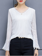 Autumn Spring  Polyester  Women  V-Neck  Decorative Lace  Plain  Bell Sleeve  Long Sleeve Blouses