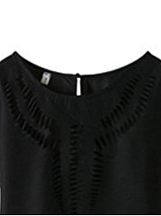 Summer  Polyester  Women  Round Neck  Hollow Out Plain Blouses