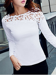 Spring  Cotton  Women  Round Neck  Decorative Lace  Hollow Out Plain  Long Sleeve Long Sleeve T-Shirts