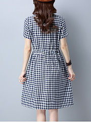 Plaid Drawstring Round Neck Pocket Skater Dress