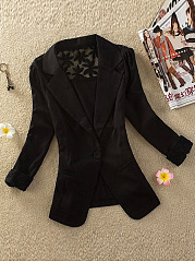 Notch Lapel Patchwork Single Button Hollow Out Plain Blazer