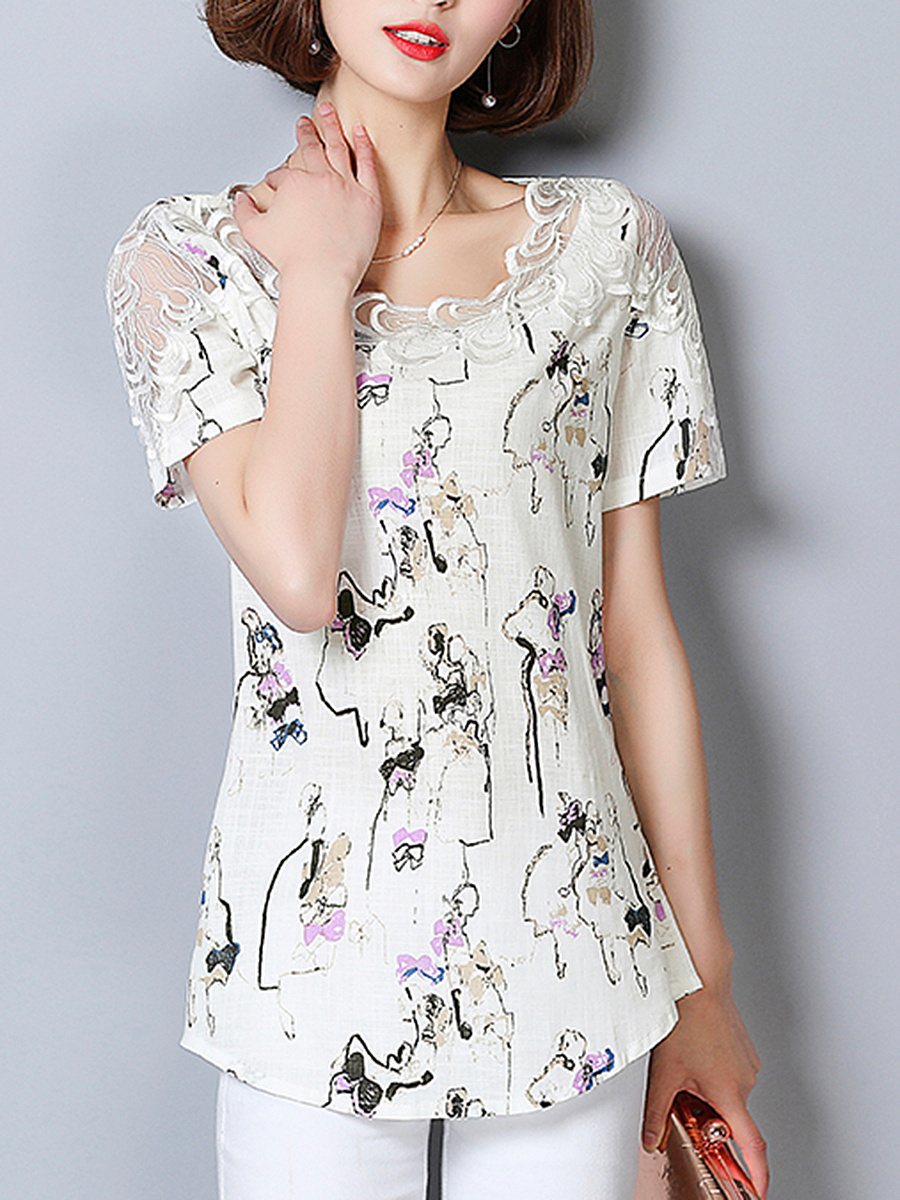 Asymmetric Neck Decorative Lace Graffiti Blouse