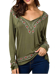 V Neck  Loose Fitting  Embroidery Long Sleeve T-Shirts