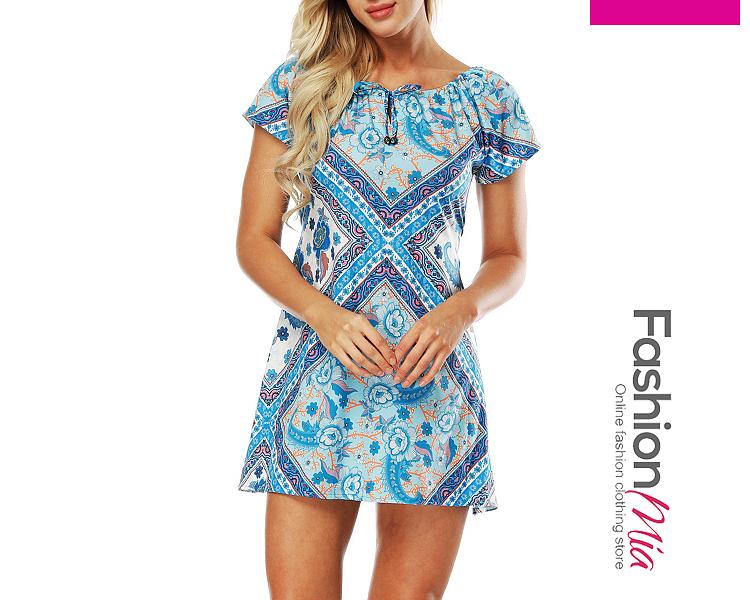 Tribal Printed Short Sleeve Round Neck Skater Dress 82105D53F502