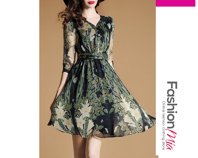 V-Neck  Printed Skater Dress