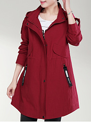 Hooded  Flap Pocket Single Breasted Zips  Plain  Long Sleeve Coats