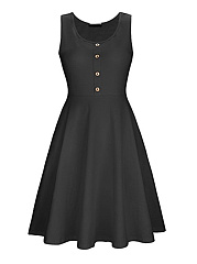 Round Neck  Ruffled Hem Single Breasted  Plain Skater Dress