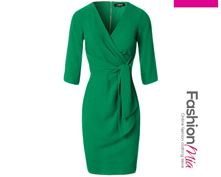 V-Neck Plain Tie-Front Bodycon Dress