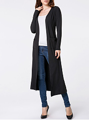 Collarless Patch Pocket Plain Duster Cardigan