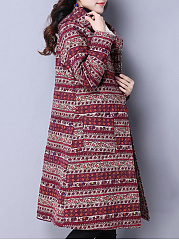 Hooded Patch Pocket Tribal Printed Coat