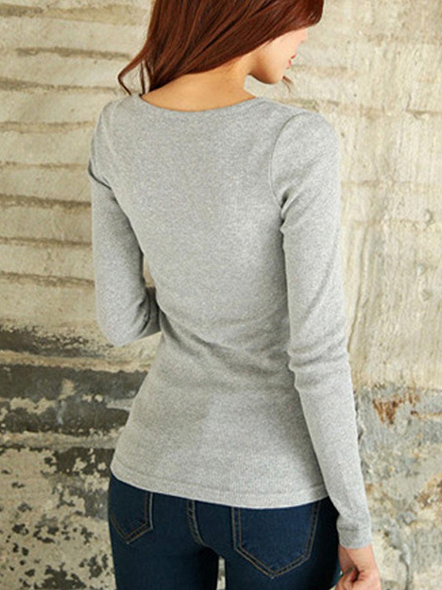 Autumn Spring  Cotton  Women  V-Neck  Decorative Button  Plain Long Sleeve T-Shirts