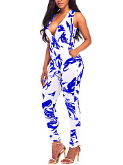 Deep V-Neck Abstract Print Pocket Slim-Leg Jumpsuit