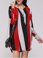 Color Block Vertical Striped Round Neck Plus Size T-Shirt