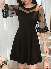 Black Round Neck  See-Through  Plain Skater Dress
