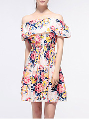Off Shoulder Elastic Waist Flounce Floral Printed Skater Dress