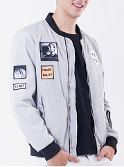 Men Flap Pocket Decorative Patch Bomber Jacket