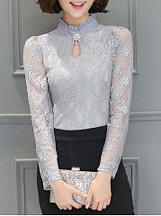 Band Collar Lace Keyhole Hollow Out Plain Long Sleeve T-Shirt