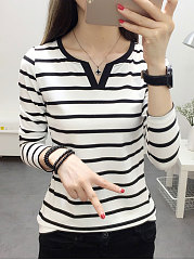 Autumn Spring  Polyester  Women  Sweet Heart  Striped Long Sleeve T-Shirts