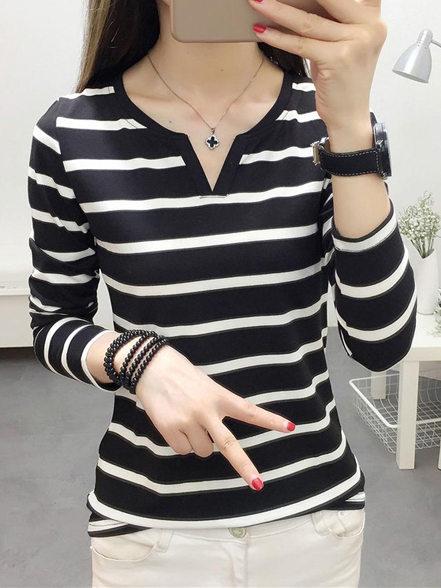 V-Neck  Striped  Long Sleeve Long Sleeve T-Shirts