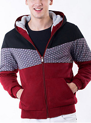 Hooded Fleece Lined Color Block Patch Pocket Men Coat